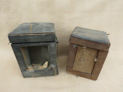 X 2 Antique Carriage Clock Carry Cases For Spares Repair