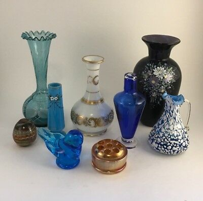 Assorted Antique / Vintage Colored Glass Lot - vase perfume figurine