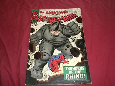 Amazing Spider-man #41 marvel 1966 silver age 4.0/vg comic! 1ST RHINO!! WOW!!!!!