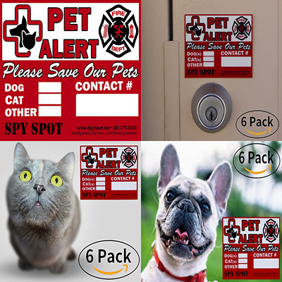 "6 Pack Fire Rescue Pet Alert Vinyl Stickers ""Please Save Our Pets"" In Case Of Em"