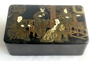 Antique Chinese Black Hand Lacquered Figural Gilt Tea Caddy Box