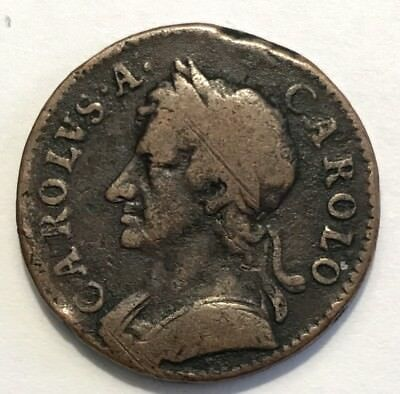 1672 Charles II Farthing QUADRUPLE TIE BANDS Four Tie Bands UNLISTED VARIETY