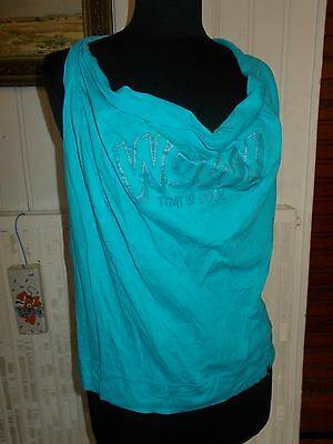 Top Tee shirt tunique bretelle coton bleu turquoise AMY GEE M 38/40 dos nu zip