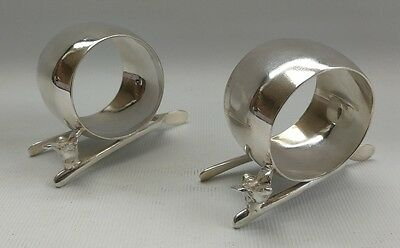 Vtg Pair of English Silver Plate Wishbone Figural Chicken Napkin Serviette Rings