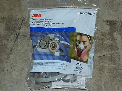 (1) New Factory Sealed 3M 07025 Medium Half Facepiece 6200 Reusable Respirator