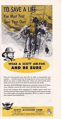 Scott Air Pak Saves Lives   1958      Ad                                 6951