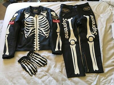 0143cddabc65 Supreme x Vanson skeleton leather jacket pants gloves full set unworn BRAND  NEW