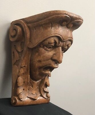 Horror Face Corbel Bracket Shelf Architectural Accent Wood Stained