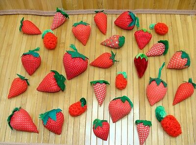 Vintage pin cushion collection - old strawberry pincushions lot - antique sewing