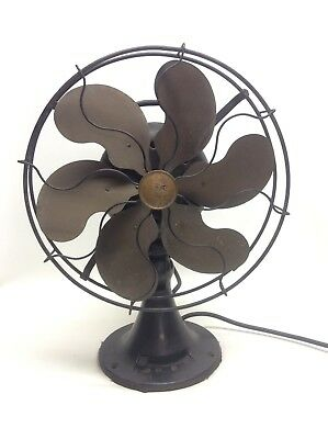 Antique Emerson 6 Brass Blade Fan 27666 Parker Blades 12""
