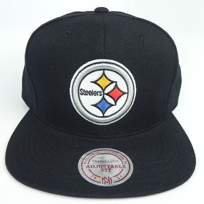 fe0633b270440 Pittsburgh Steelers Nfl Mitchell And Ness Vintage Snapback Black Cap Hat  Nwt!