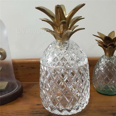 24cm Vintage Mid Century Brass Glass Crystal Pineapple Jar - Candy - Trinkets