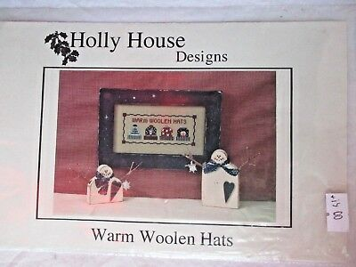 New WARM WOOLEN HATS sampler embroidery pattern,Was $19, instructions + pattern