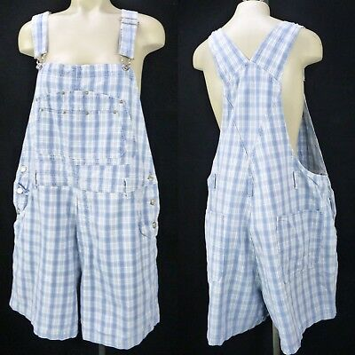 Vintage 90s Plaid Denim Shortalls Plus Size 20 1X Bib Overalls Shorts Romper