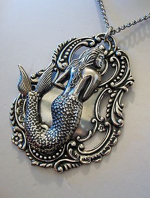 MERMAID PENDANT NECKLACE - Sterling Silver pltd - ART NOUVEAU STYLE - Handmade