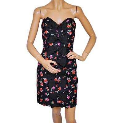 f980e431bd83 VINTAGE 1980S VICTOR Costa Strapless Dress - Floral Print - Size M ...