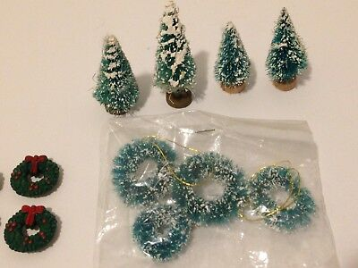 Lot Of 8 + Vintage Bottle Brush MINI Christmas Trees And Wreaths - Dollhouse
