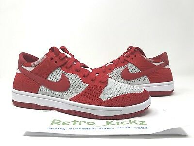 on sale 0527a 00f5f 917746 600 Nike Dunk Low Flyknit Retro University Red Wolf Grey Size 9.5  Mens