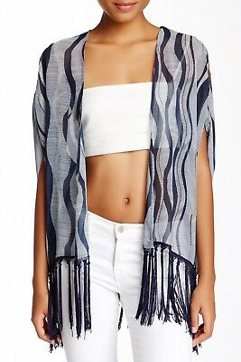 One Urban Day Blue White Size Small Cold-Shoulder Bed Jacket Fringed Kimono