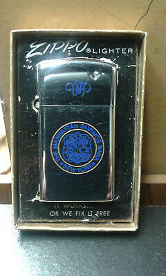 Vintage Zippo Slim Lighter The Manhatten Savings Bank In Box