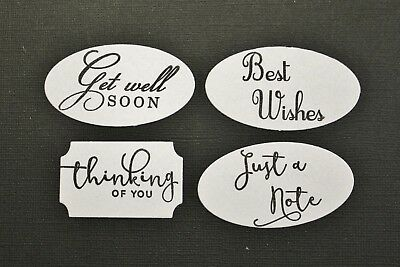 12 x White Assorted Sentiments Oval Rectangle Labels Die Cuts Card Toppers