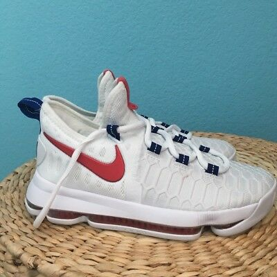 c2bd8635cd21 NIKE ZOOM KD9 Kevin Durant GS Shoes USA Red White Blue Olympic SZ ...