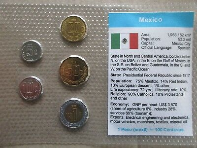 Mexico.....5 Uncirculated Coins......in Plastic Cover