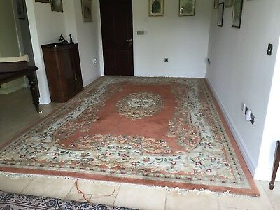Antique Chinese Oriental Pink Fringed very large Carpet Rug (Persian) 9ft x 14ft