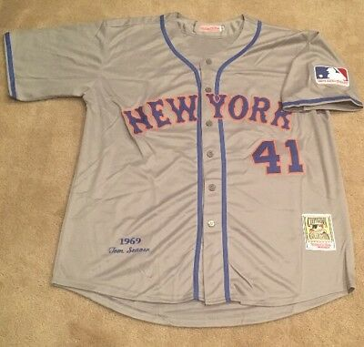 size 40 e7a89 a9984 TOM SEAVER NEW York Mets Retro Throwback Jersey NWT Mens XXL 1969 Road Gray  RARE