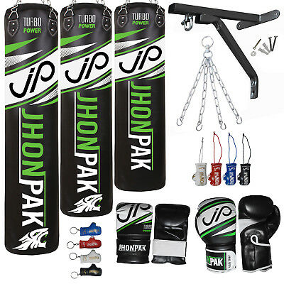 JP Heavy Punching Bag Set UnFilled Boxing Gloves Mitt MMA Training Bracket Chain