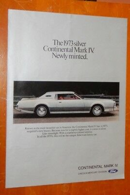 1973 Lincoln Continental Mark Iiv Silver Edition Ad - Retro 70S Luxury American