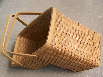 Beau Vtg. Wooden Woven Stair Step Basket Excellent Double Swing Handles