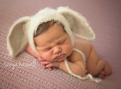 Hand Crochet Knitted Baby Hat Rabbit Bunny Beige Photo Prop Boy Girl Newborn-12M