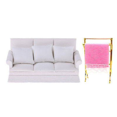 Modern White Miniature Couch Sofa Towels Rack Set for 1:12 Dollhouse