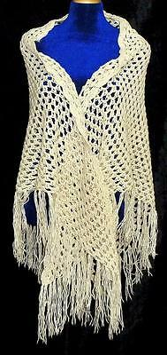 Vintage Uzbek Handmade & Homemade Natural Cotton Woolen Shawl Scarf A7334