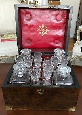 VIntage Spirits Case with Decanters and 8 small Liqueurs' glasses