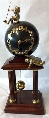 Rare Antique German Junghans Globe Mantle Clock, 4 Pillars and Cherubs, Working