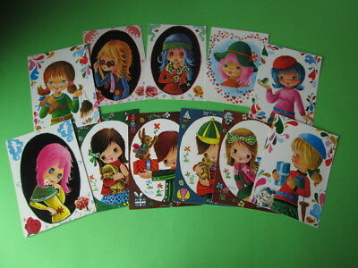 Vintage Lot Of 11 Beautiful Big Eye Postcards From The 70's New