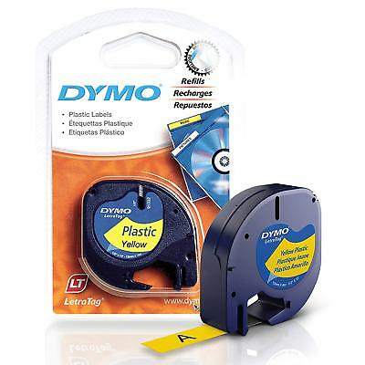 """DYMO LetraTag Label Makers Black Print on Yellow Plastic Refill Tape 1/2"""" x 13ft"""