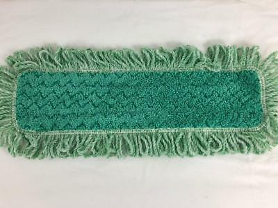 "Rubbermaid HYGEN 18"" Microfiber Commercial Floor Mop Pad with Green Fringe Q418"
