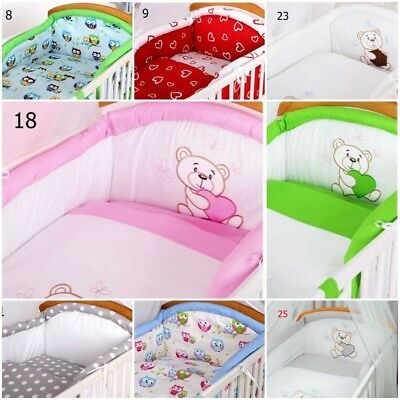 sale ! COT BUMPER padded filled for cot / cot bed REMOVABLE COVER