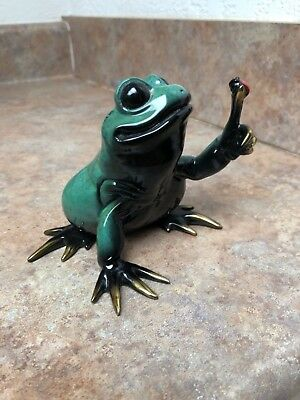 1999 Kitty Cantrell Critters Cast Bronze Fat Frog Lady Bug Enamel Figure 627/950