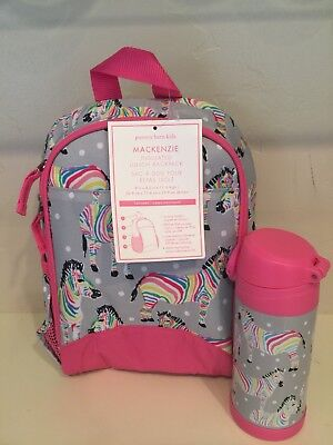 New Pottery Barn Kids Rainbow Zebra Small Lunchbox Backpack And Water Bottle Set