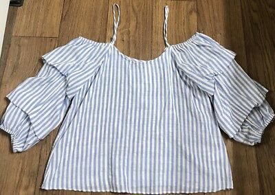 Women's Cream & Blue Striped Off The Shoulder Ruffle Sleeve Boho Top NWT Size M