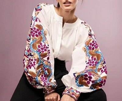 New boho embroidered blouse floral vita kin style White long sleeve Top M/L