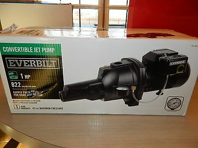 Everbilt 1 HP Convertible Jet Pump! UP TO 822 gals/hr!  NEW IN BOX!