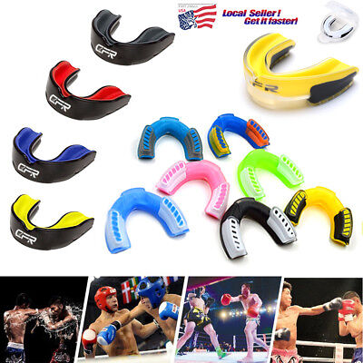 Sports Mouth Guard for Kids/Adults Gel Gum Shield Case Teeth Football Sports U36