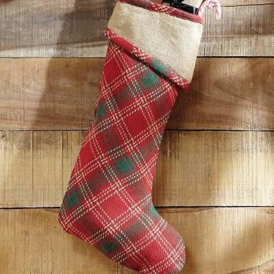 country whitton stocking 11x20 christmas holiday burlap red green plaid - Country Christmas Stockings