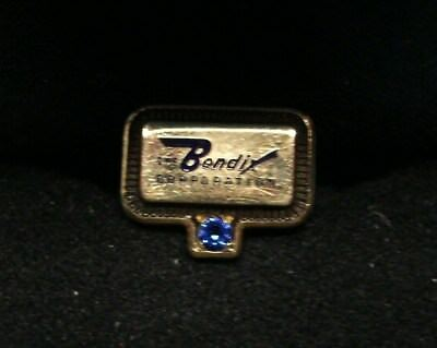 VINTAGE BENDIX TIE TAC / LAPEL PIN ~ 10K GOLD with SAPPHIRE ~ VERY NICE COND.
