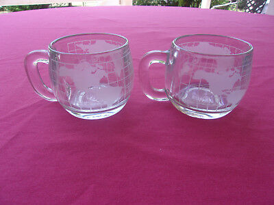 "2 (Two) 1970's Nestle Nescafe Coffee Glass World Mug Cup ""Taste Your Way"" VTG."